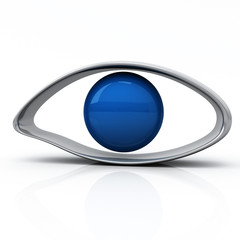 Blue human eye icon, 3d