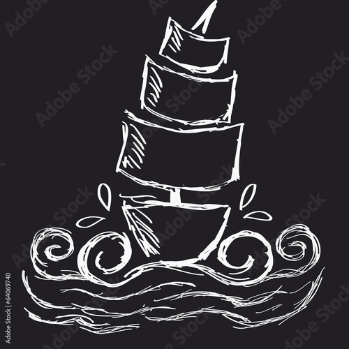 Illustration of hand draw white ship on a black background