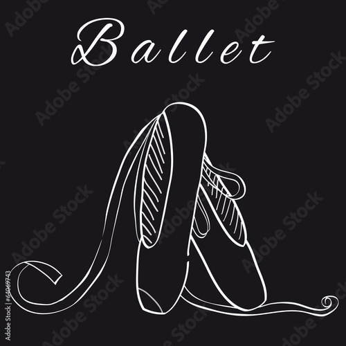 Hand draw isolated pointes for ballet