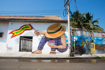 Graffiti in the old streets of Cartagena in Colombia