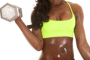 African American woman fitness green body weight front