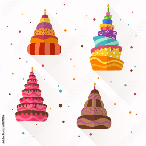 Vector Illustration of Abstract Birthday Cakes