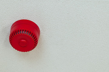 Domestic fire alarm sound alert red round ceiling
