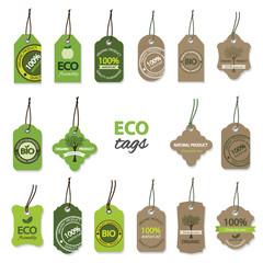 Eco organic label tags big set.