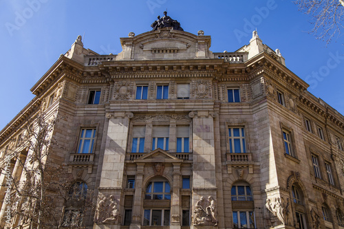 Budapest, Hungary. Architectural fragments of historic buildings