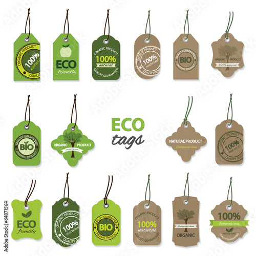 Eco organic label tags big set.