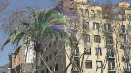 Soap bubble flying in the city, super slow motion