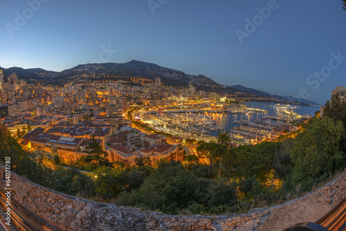 Aerial view of Monaco just after sunset