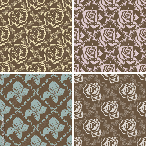Set of seamless floral retro patterns.