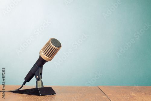 Retro microphone on table