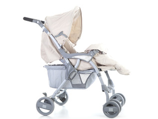 Side pram with cover opened on white background.