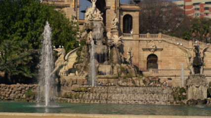 Fountain in Ciutadel park in Barcelona, super slow motion