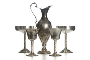 Set of vintage silver plated goblets