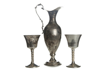 Set of vintage silver plated goblets