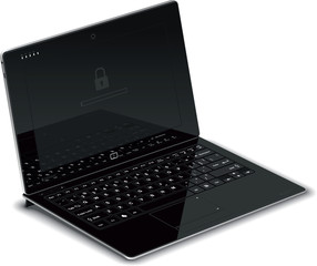 Vector Tablet Left Side View with Keyboard Dock