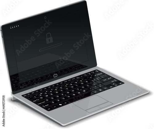 Vector Tablet Left Side View with Silver Keyboard Dock