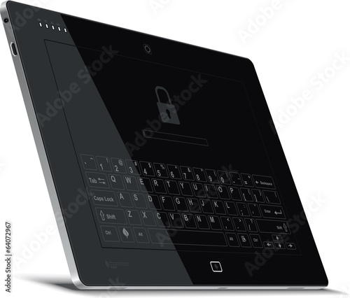 Vector Tablet Left Side View with Virtual Keyboard
