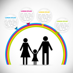Family infographic rainbow template