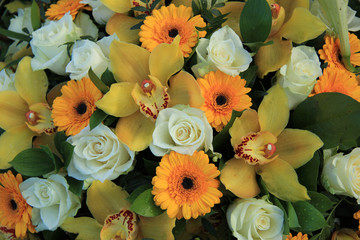 Cymbidium orchids, Gerberas and roses
