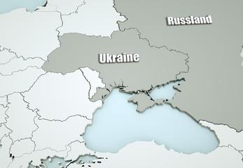 Ukraine mit Krim und Russland Map - detailreich -