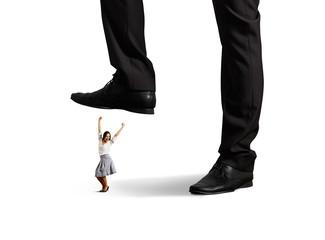cheerful businesswoman under big leg