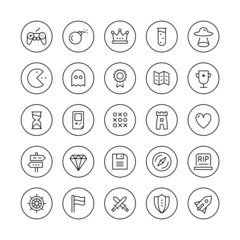 Classic game thin line icons set