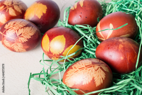 Easter eggs on a old wooden table