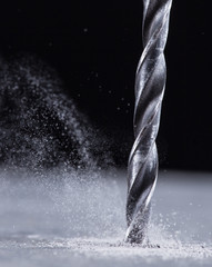 Close-up view of a metal drill