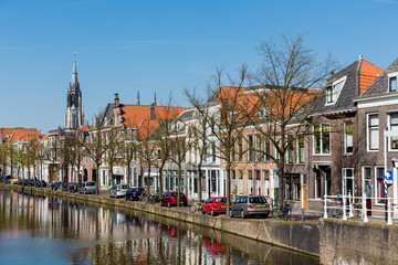 Cityscape of Delft with historic houses, the Netherlands