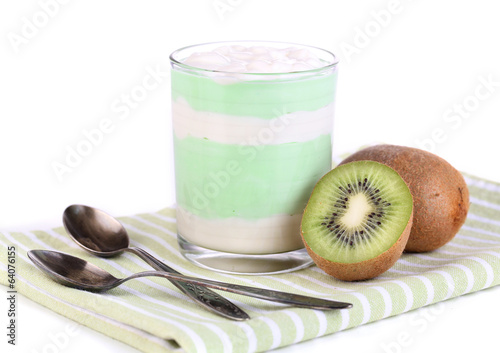 Delicious yogurt with fruit taste in glass