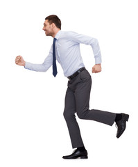 smiling businessman running