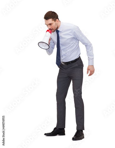 angry businessman with megaphone