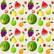 Fresh fruits seamless pattern