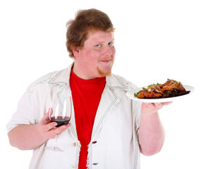 Fat man  with wine glass and fried chicken, isolated on white