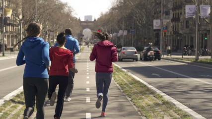 Young joggers running by the city street