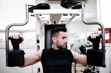 workout at the gym, chest exercise at bench