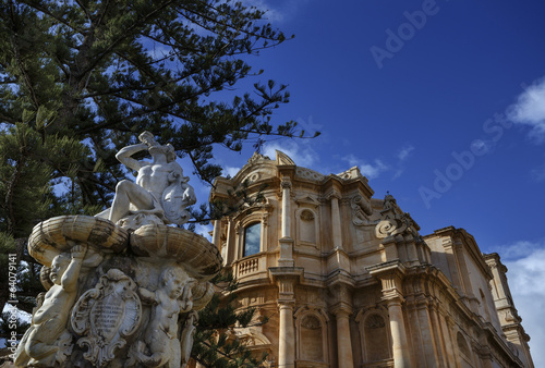 Italy, Sicily, Noto, S. Domenico Church baroque facade