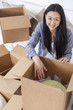 Asian Woman Girl Unpacking Boxes Moving House