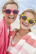 canvas print picture - Mother Daughter Woman Girl Sunglasses on Beach