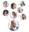Business Men Women Cell Phone Networking