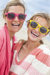 Mother Daughter Woman Girl Sunglasses on Beach