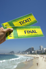 Hand Holding Brazil Final Tickets Rio Beach