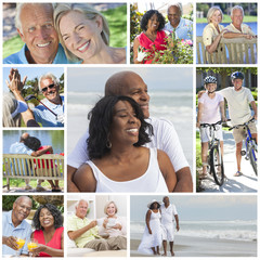 Interracial Senior Couples People Beach Retirement Lifestyle