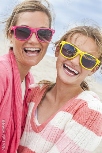 canvas print picture Mother Daughter Woman Girl Sunglasses on Beach