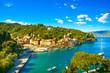 Leinwandbild Motiv Portofino luxury village landmark, panoramic aerial view. Liguri