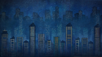 Night city. Skyscrapers.Megalop olis.graphic arts