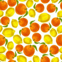 Orange lemon seamless pattern