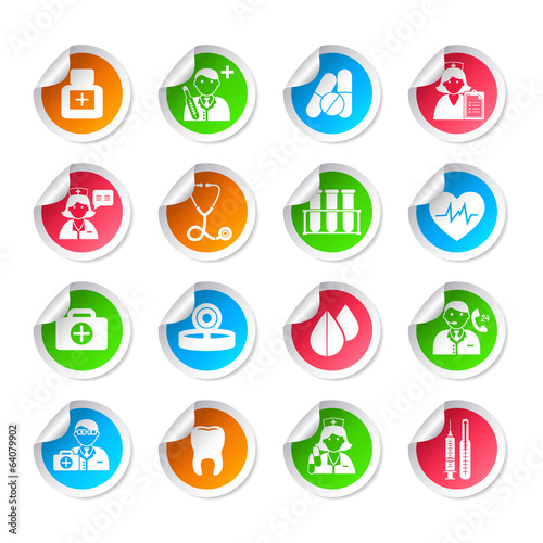 Medical healthcare icon stickers