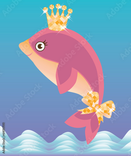 Beautiful little dolphin, vector illustration