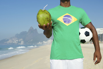 Brazilian Soccer Football Player Drinking Coconut Rio